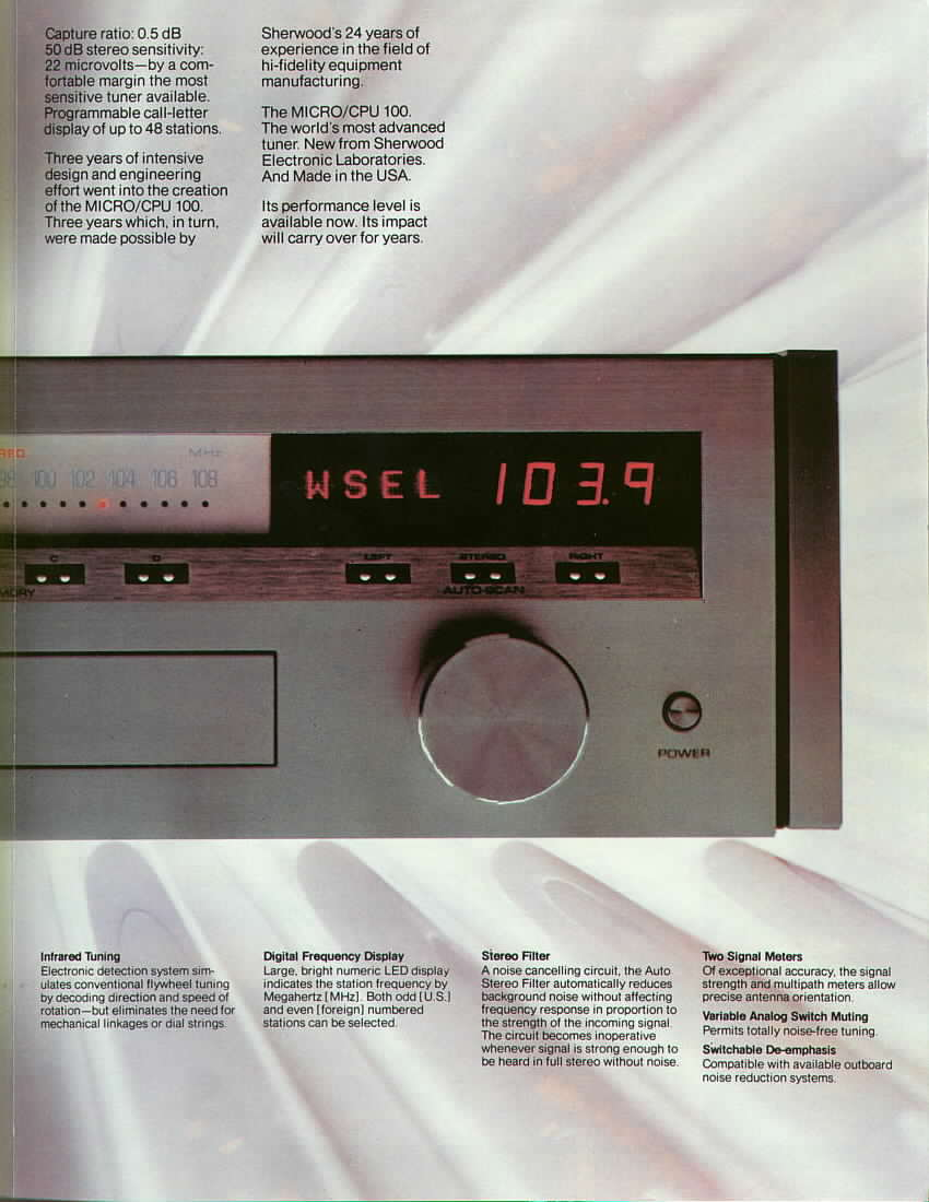 Tuner Information Center Reviews S Z Stereo Noise Reduction Circuit The Fm Only Micro Cpu 100 Was Designed By Larry Schotz Of Fame And Manufactured For Sherwood Draco Laboratories Which Also Sold